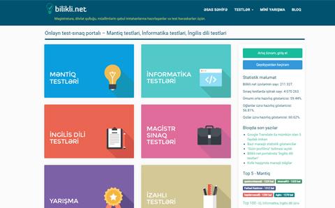 Bilikli.net onlayn testlər toplusu