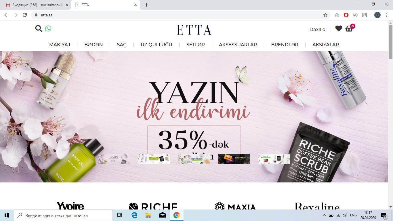 """""""ETTA.az"""" Onlayn Kosmetika Mağazası"""